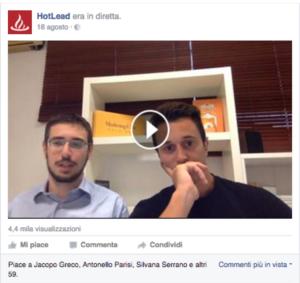 Un esempio di Diretta sulla pagina Facebook che ha generato 12 richieste di contatto in pochi minuti.